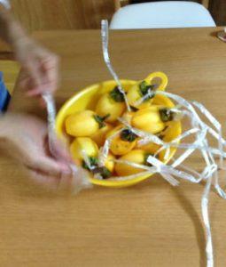 皮剥きが終わったらつりさげられるようにヘタの部分を紐で縛ります。 この時、どこに干すか考えてから作業するといい ようです。1本の紐に柿をたくさん結んでもいいし紐も長くしたり、短くしたりetc・・・。