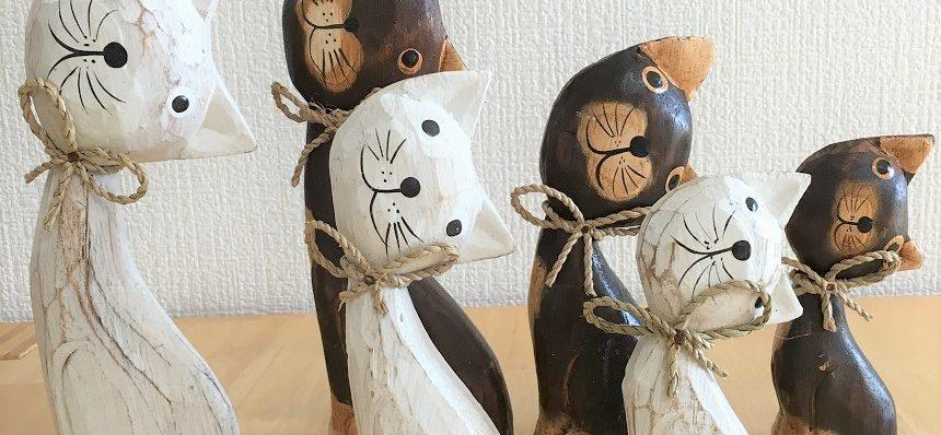 バリ木彫りねこ3個セット